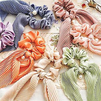 9Pcs women's hair band satin ponytail ribbon pearl pendant