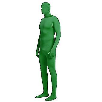 S grön hel bodysuit unisex spandex stretch vuxen kostym x4392