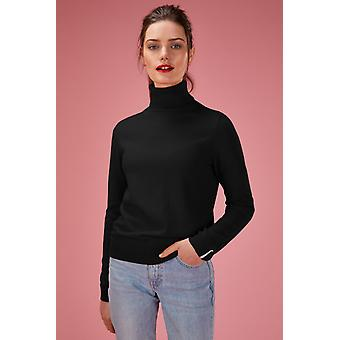 Loop Cashmere Polo Neck Sweater In Black