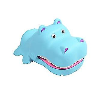 With light and sound blue hand-bite hippo parent-child interaction electric bite hippo teeth extraction children's tricky toy az4971