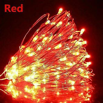 Usb 10m 100 leds usb الأحمر قاد أضواء سلسلة 10m 5m 3m 2m، الفضة سلك ضوء خرافية للماء az16808