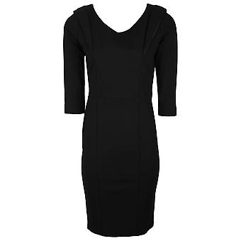 Isabel De Pedro Black Three Quarter Sleeve Bodycon Fit Shift Dress With Lapel Detail