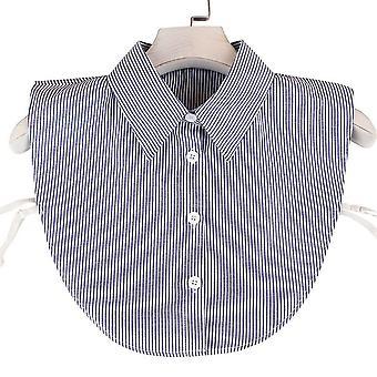 אנטי קמט חצי חולצות רקמה פסים כחולים צווארון שווא להסרה חולצה