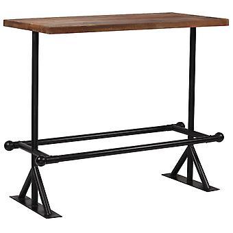 """שולחן בר vidaXL עץ ממוחזר חום כהה מוצק 120x60x107 ס""""מ"""