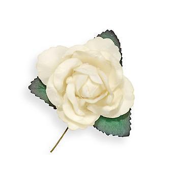 SISTE FÅ - 12 Elfenben 45mm Papir Rose Blomster