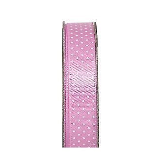 LAST FEW - 3m Soft Pink 10mm Wide Polka Dotted Satin Craft Ribbon