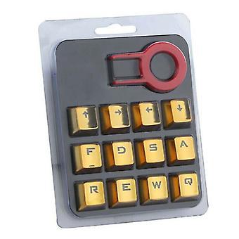 (Yellow) 12Pcs/Set Mechanical Keyboard Gaming Keycap Backlit Keycaps With Keycap Puller