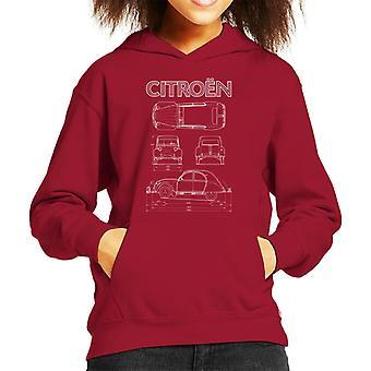 Citroen 2CV Vitt diagram visar barns huvtröja