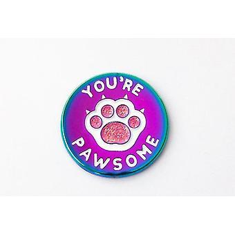 Youre Pawsome- Regenboog gegalvaniseerde kat poot emaille pin