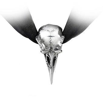 Alchemy Gothic Rabeschadel Ravens Skull Ribbon Choker Necklace