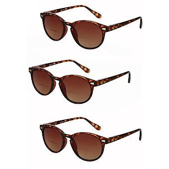 """The Brilliance"" 3 Pair of Bifocal Sunglasses - Round, Full Frame Reading Sunglasses for Men and Women - Tortoise - 3.00"
