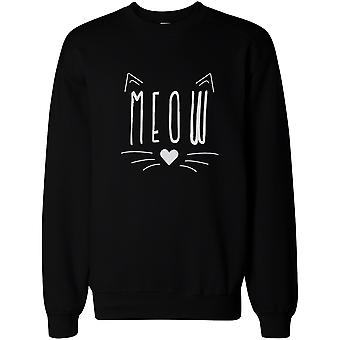 Cute Kitty Meow face Sweatshirt Crewneck Pullover polaire chat amoureux féminin