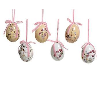 6 6cm Florals Print Wiszące jajka Dekoracje na drzewa wielkanocne