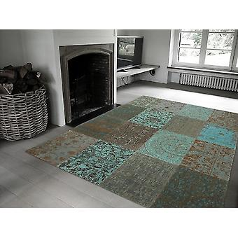 Vintage 8006 - Sea Blue Soft Blue-Greens with Beige and Brown. Rectangle Rugs Modern Rugs