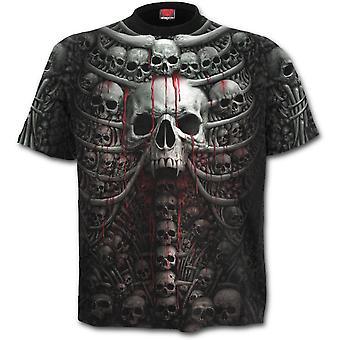 Spiraal-dood ribben-allover gedrukt korte mouw t-shirt, zwart