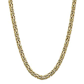 14k Yellow Gold Solid Polished Lobster Claw Closure 6.50mm Byzantine Chain Anklet 9 Inch Lobster Claw Jewelry Gifts for