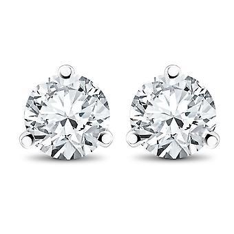 3/4CT TDW diamant 3 broches Martni goujons