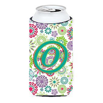 Letter O Flowers Pink Teal Green Initial Tall Boy Beverage Insulator Hugger