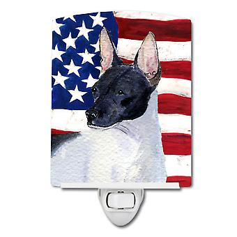 USA American Flag with Rat Terrier Ceramic Night Light