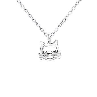 Cat Face - 925 Sterling Silver Necklaces - W30927X