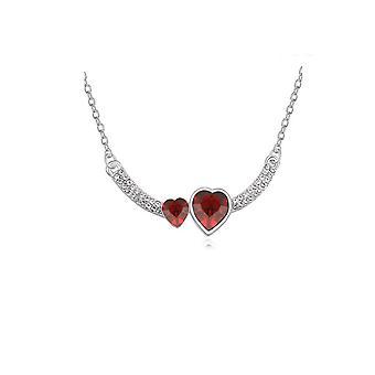 Naisten kahden sydän rakkaus punainen riipus kaulakoru