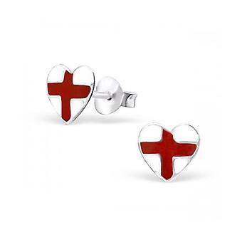 Union Jack Wear St George Engeland Heart zilveren Studs - Earings