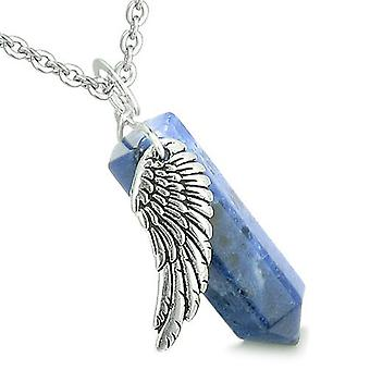 Amulet Angel Wing Archangel Gabriel Magic Crystal Point Sodalite Spiritual Pendant Necklace