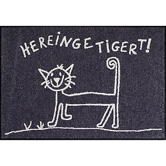 Salon Leeuw deurmat Hereingetigert 50 x 75 cm wasbaar kat deurmat