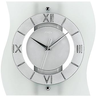 Radio controlled wall clock clock clock radio clock glass 32 x 30 cm AMS