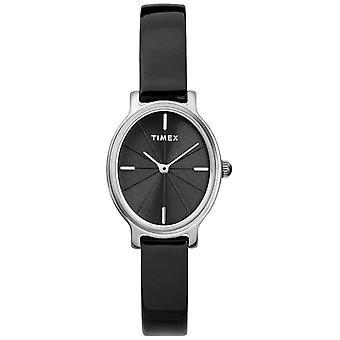 Timex Milano Oval Silber Mesh schwarz Zifferblatt TW2R94500D7PF Damenuhr