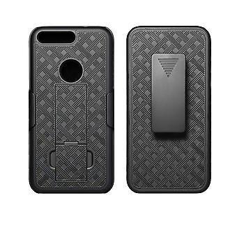 KuKu Mobile Rubberized Shell Holster for Google Pixel with Kickstand (Black)