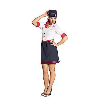 Flugbegleiterin Stewardess Kaffeeschubse Kleid Kostüm für Damen