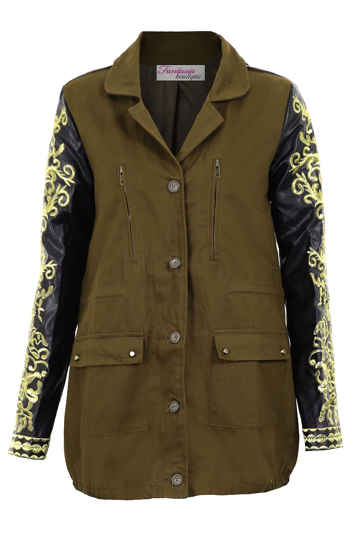 Hyvät PVC kultaa brodeerattu pitkä hiha Khaki naisten takki