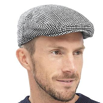 Mens Quality Flat Cap Fashion Hat With Check Weave Tweed Design