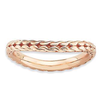 2,25 mm 925 Sterling Silber gemustert stapelbare Ausdrücke poliert rosa vergoldet Welle Ring Schmuck Geschenke für Frauen - Ring