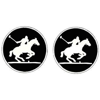 Bassin och brun Polo Player manschettknappar - svart/vit