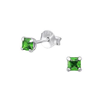 Square - 925 Sterling Silver Classic Ear Studs - W31694X