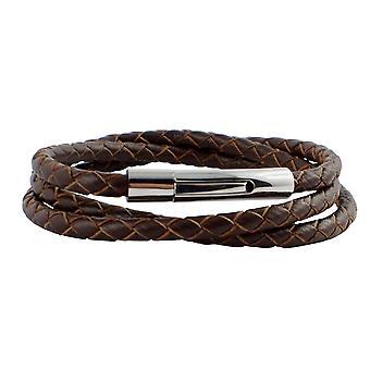 Collier en cuir collier 4 mm mens brown 65 cm long avec fermeture en cuir tressé