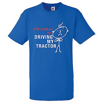 Mens I'd Rather Be Driving My Tractor Royal Blue Tshirt