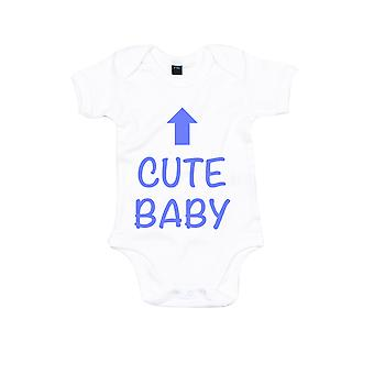 Cute Baby White with Blue Short Sleeve Bodysuit Baby Grow