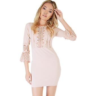 Danity Pink Bodycon Dress With Lace Inserts And Bell Sleeves