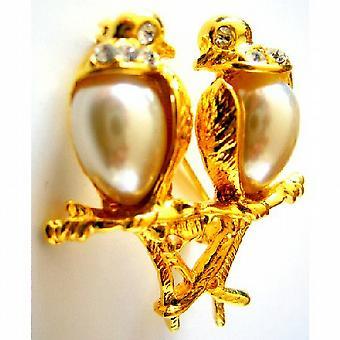 Amore romantico Dude uccelli su oro regalo di San Valentino del gambo