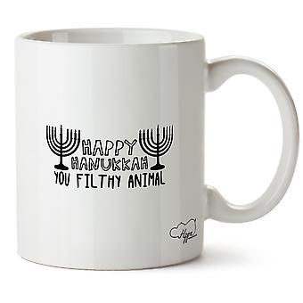Hippowarehouse feliz Hanukkah Animal imundo impresso caneca copo cerâmico 10oz