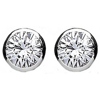 Bella 7mm Cubic Zirconia Rubover Stud Earring - Silver/White