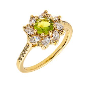 18 ك YG جولييت بيرثا جمع المرأة مطلي زهرة الضوء الأخضر أزياء الدائري الحجم 6