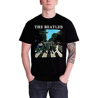 The Beatles T Shirt Abbey Road Crossing Band Logo Official Mens New Black