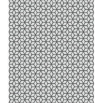 3D Effect Geometric Wallpaper Grey Black Textured Glitter Vinyl Paste The Wall