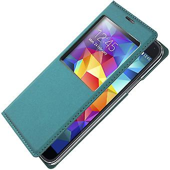 Smart view window flip case for Samsung Galaxy S5/ S5 New, slim cover – Blue
