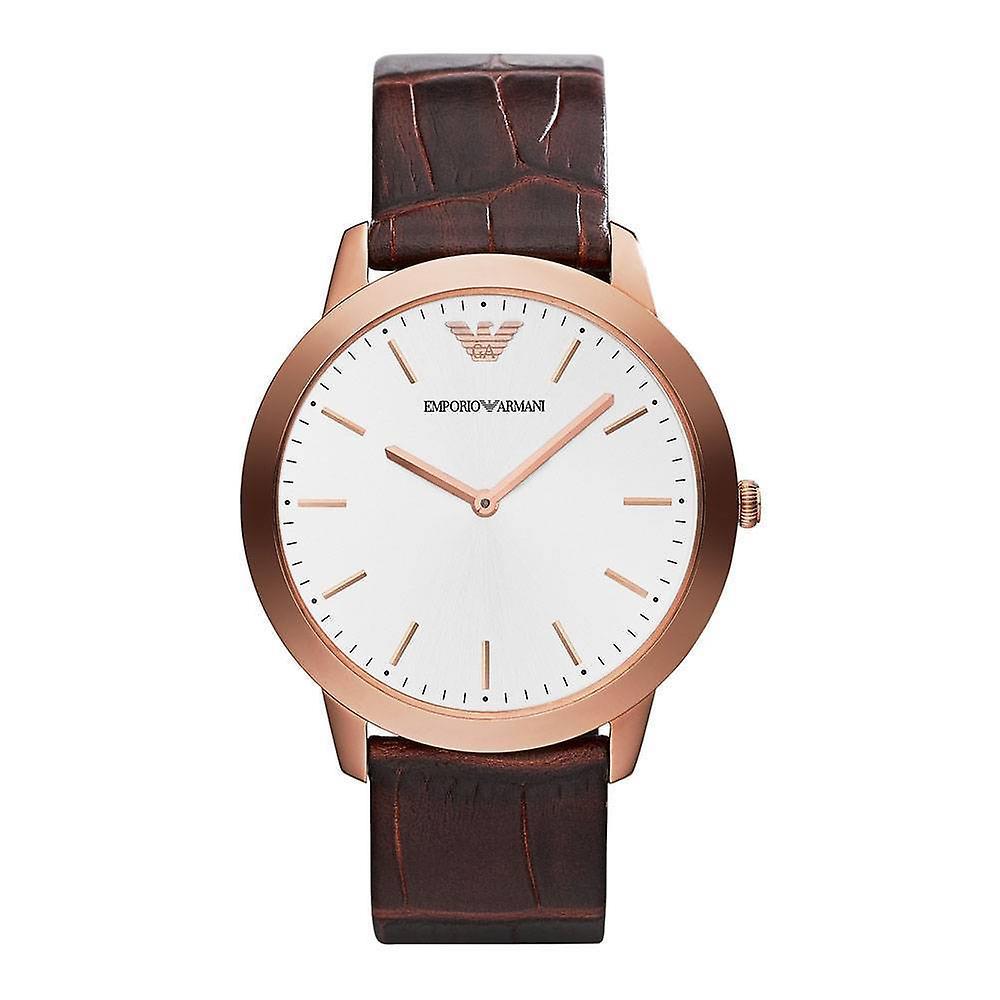 Emporio Armani Ar1743 Men's Retro Silver Dial Brown Leather Watch