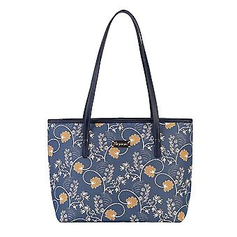 Jane austen blue top-handle shoulder bag by signare tapestry / coll-aust